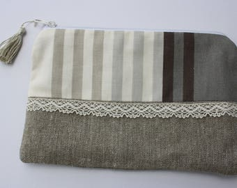 makeup bag in linen and striped fabric