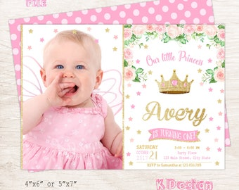 Princess Invitation, Princess Birthday Invitation, Printable Birthday Invitation