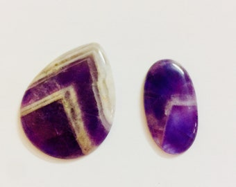 Natural Amethyst Oval & pears Cabochon Gemstone Crystal .