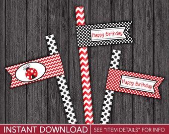 Ladybug Straw Flags - Ladybug Happy Birthday Party Straw Drink Tags - Printable Digital File - INSTANT DOWNLOAD