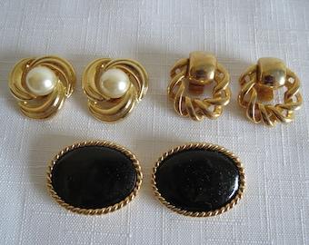 3 Pair Vintage Shoe Clips Bluette France & Janbro Gold Plated Faux Pearl