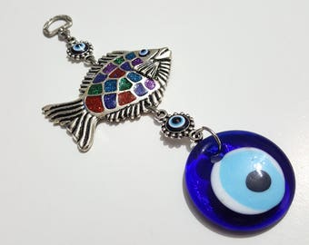 Fish Wall Hanging with Colorful Glitters and Turkish Evil Eye - Nazar Beads - Pisces