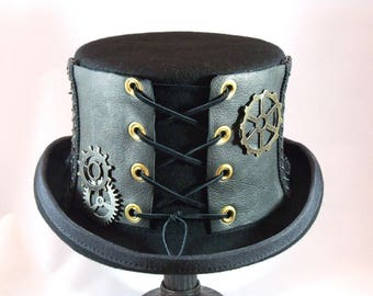 Steampunk, Steampunk Hat, Leather Top Hat, Victorian Hat, Burning Man, Cosplay Hat, Black Top Hat, Gothic Hat, Steampunk Costume, Top Hat