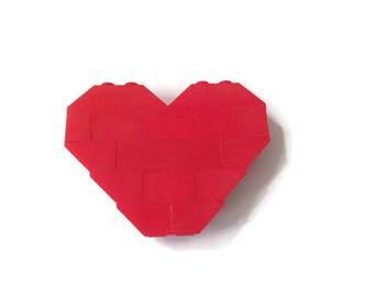 Red Heart LEGO Brooch
