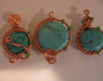 Hand woven copper and turquoise pendant