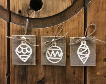 Painted Reclaimed Wood Ornaments - FREE SHIPPING - Hand Painted Wood Gift Tags