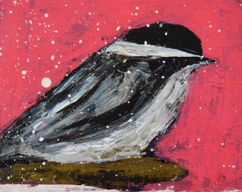 Chickadee Bird Painting Print. Pink Cottage Chic Digital Print. Bird Art Prints. Mother Gift for Her. 24