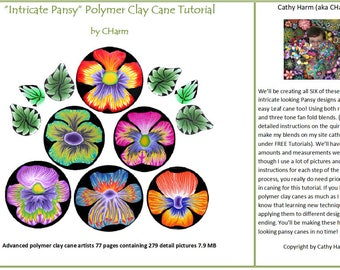 Intricate Pansy polymer clay cane tutorial by CHarm