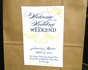 Printable Scripts & Swirls Welcome Bag Labels  - You Choose Colors - LOVELY LITTLE PARTY