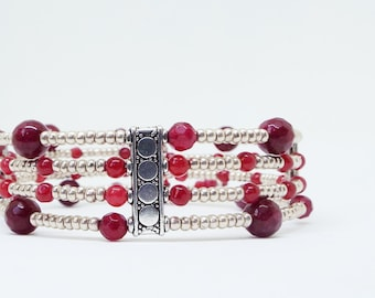 handmade, Natural rubys, silver beaded bracelets