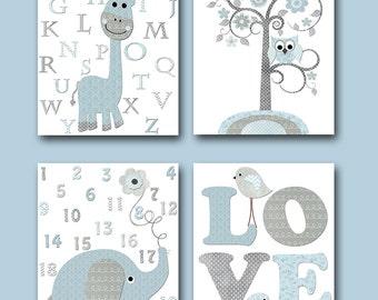 Kids Art Kids Wall Art Baby Boy Nursery Print Children Art Children Wall Art Baby Room Decor set of 4 Giraffe Alphabet Elephant Numbers
