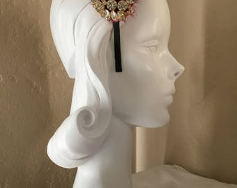 Vintage Glam Rhinestone and Cabernet Red Feathered Headband