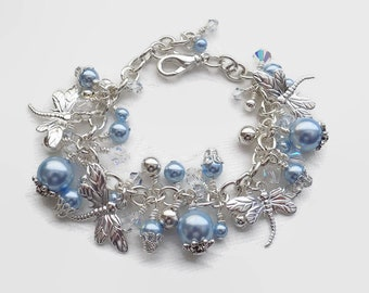 Blue Pearl Crystal Dragonfly Charm Bracelet Silver Blue Bracelet Dragonfly Jewelry Summer Jewelry Gift for Mom