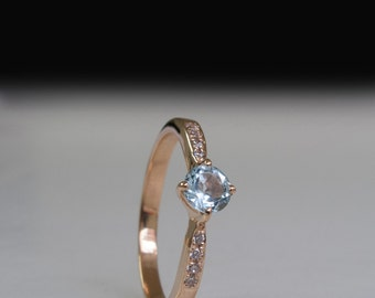 Blue Topaz   - Diamond ring - Engagment ring - Blue stone Ring - 14 Karat Gold
