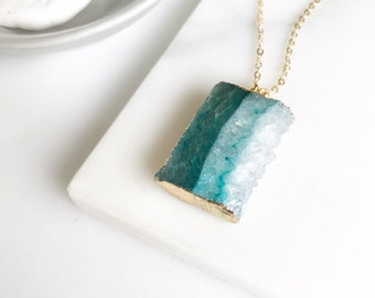 Teal Druzy Necklace. Geode Necklace. Raw Side Cut Druzy Jewelry. Slice Stone Necklace. Teal Aqua Gold Necklace.  Raw Crystal Necklace. Gift.
