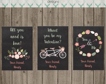 Printable Vintage Shabby Chic Chalkboard Valentine Cards - Custom Valentine Cards