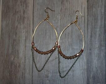 Hammered Brass Beaded Hoop Earrings   Boho Drop earrings