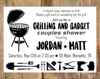 Grilling and Gadget Shower Invitation - DIGITAL file - Couples Shower Invitation, Groom Shower