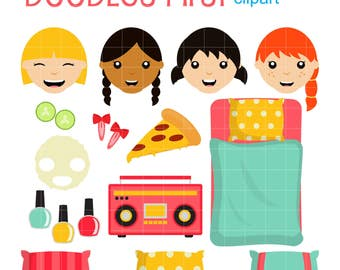 Girls Sleepover Party Clip Art for Scrapbooking Card Making Cupcake Toppers Paper Crafts