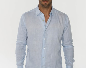 Aqua Linen Shirt - Loose Fit with Pocket by Claudio Milano- Style 1005 4ccgsj4