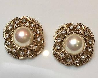 Authentic VINTAGE - rose Crystal Pearl Earrings
