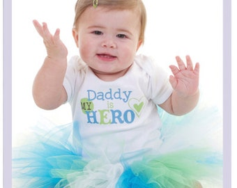 My Daddy Is My Hero Father's Day Tutu Dress Set 3 6 Month Newborn Tutu Outfit Turquoise Tutu Dress