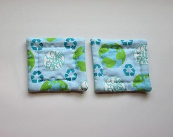 refrigerator magnets love your earth hand quilted set of 2