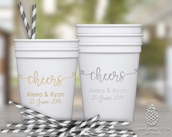 Cheers Wedding | Customizable Plastic Party Favor Cups | Engagement Bridal Parties, Weddings or Showers | social graces and Co