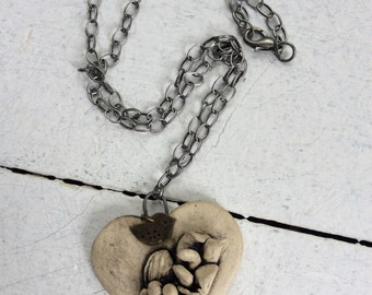 Handmade Ceramic Heart Pendant Focal Necklace