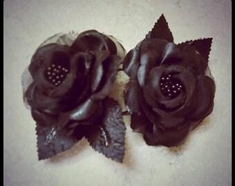 Black Roses Beaded Organza Craft Supplies Artificial Flowers De-Stash Clearance Florals