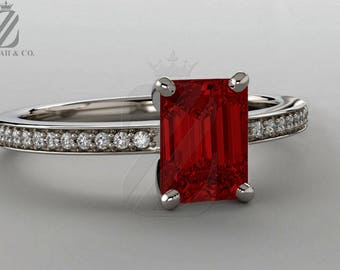 Emerald Cut Ruby & Diamond Ring Red Ruby Ring Ruby Engagement Ring White Gold Ring July Birthstone Diamond Engagement Ruby Anniversary Ring