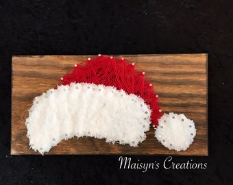 Furry Santa Hat String Art Sign | READY TO SHIP