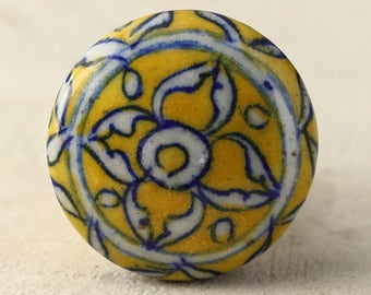3 Antique Yellow and White Floral Ceramic Cabinet Knob