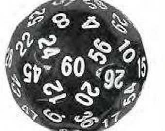 Single Dice: D60 35mm Single Black with White Numbers
