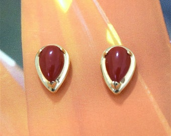 Red Coral Earring, 14KT Yellow Gold Oval Red Coral Stud Earring, E5486 Hawaii Jewelry