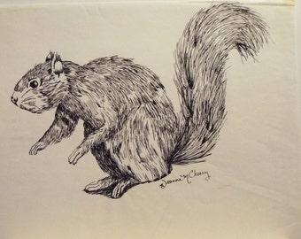 """Squirrel 11 1/2"""" x 9"""" Pen and Ink"""