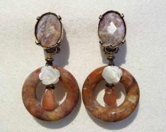 DIMANCHE D'AUTOMNE : boucles d'oreilles clips en pierres naturelles