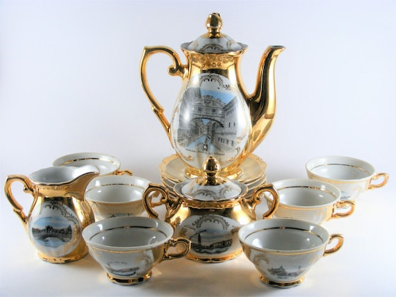 & Vintage Bavaria 22k Gold Plated Porcelain Coffee Tea