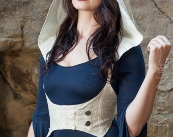 """The """"Faux"""" Vegan Leather Underbust Vest/Harness w/DETACHABLE Pixie Hood in Ivory Cream by Opal Moon Designs (Size S-XXL)"""