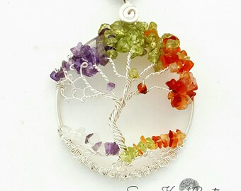 Four Seasons Tree of Life Pendant / Gemstone Tree of life/ Gifts Idea For Her/ Gift Idea for Yoga Teachers/  Gifts for Yogi/ Birthday gift