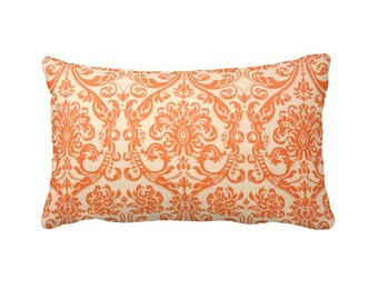 Orange Pillow Cover Orange Throw Pillow Cover Orange Lumbar Pillow Orange Damask Pillow Decorative Pillows for Couch Pillows Orange Cushion