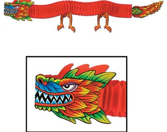 Hanging Asian Tissue Dragon 6 ft - Chinese New Year Decorations Celebration Party Supplies 55701 fnt