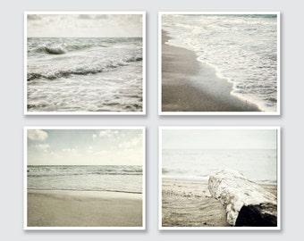 Beach Decor Set, Ocean Art Prints or Canvas Art Set, Beach Landscape Print, Set of 4 Prints, Neutral Peaceful Soothing Grey Mint Beige.