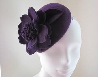 Womens Cocktail Hat Dark Purple Velour Flower
