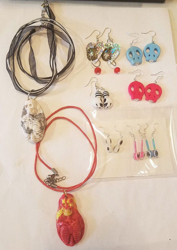 9 pc skull evil eye jewelry lot necklaces earrings goth punk halloween clay plastic handmade wholesale lot
