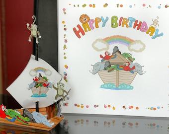 Noah's Ark Jungle Birthday Card + FREE FAB Card inside