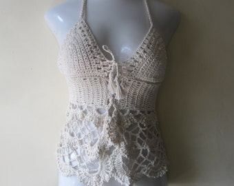 Crochet halter camisole top, crochet camisole, crochet halter top, crochet lingerie, Romantic festival clothing, gypsy, boho, beach cover up