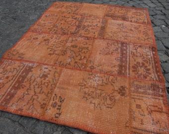 rugs, small orange, kilim runner overdyed, overdyed small rug, kilim small,