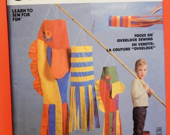 Fun windsock pattern McCall's 2438 Vintage bright and colorful windsocks pattern Uncut