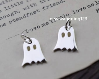 2 pcs ghost halloween charm pendant in 925 sterling silver, NR3